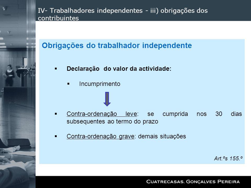 IV- Trabalhadores independentes - iii) obrigações dos contribuintes Obrigações do trabalhador independente Declaração do valor da actividade: Incumpri