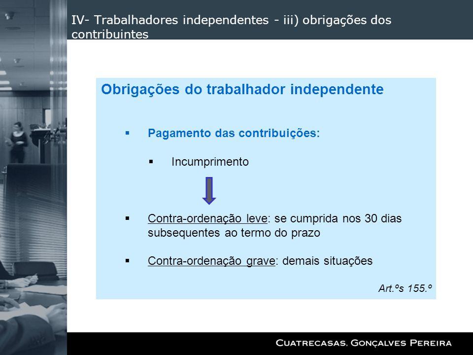 IV- Trabalhadores independentes - iii) obrigações dos contribuintes Obrigações do trabalhador independente Pagamento das contribuições: Incumprimento