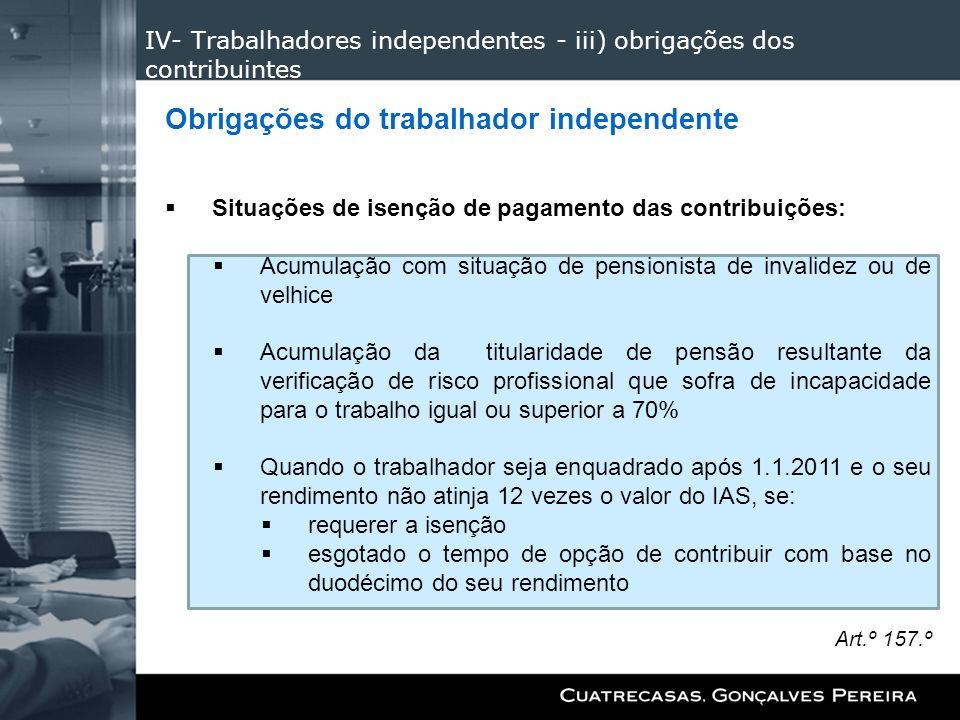 IV- Trabalhadores independentes - iii) obrigações dos contribuintes Obrigações do trabalhador independente Situações de isenção de pagamento das contr