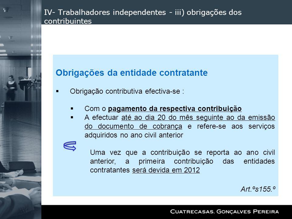 IV- Trabalhadores independentes - iii) obrigações dos contribuintes Obrigações da entidade contratante Obrigação contributiva efectiva-se : Com o paga