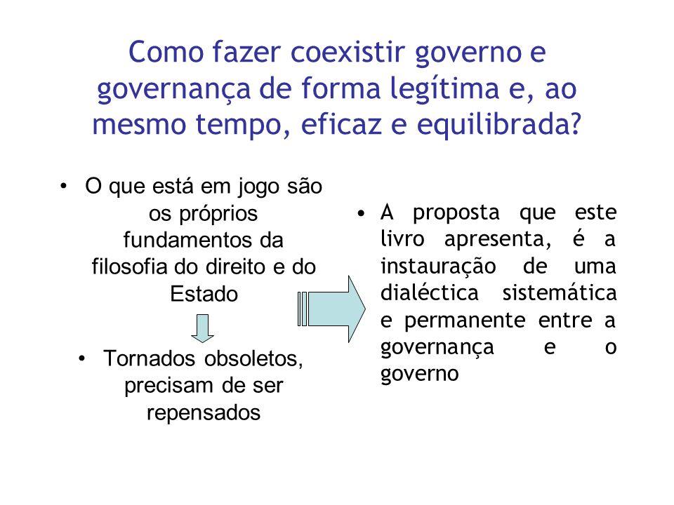 Como fazer coexistir governo e governança de forma legítima e, ao mesmo tempo, eficaz e equilibrada? O que está em jogo são os próprios fundamentos da
