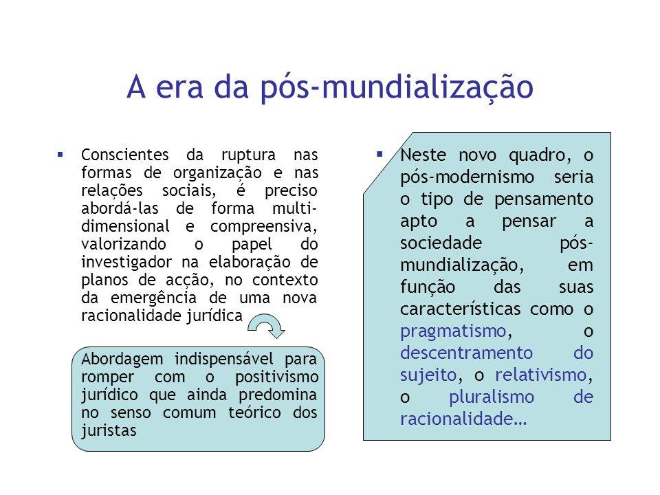 A era da pós-mundialização Conscientes da ruptura nas formas de organização e nas relações sociais, é preciso abordá-las de forma multi- dimensional e