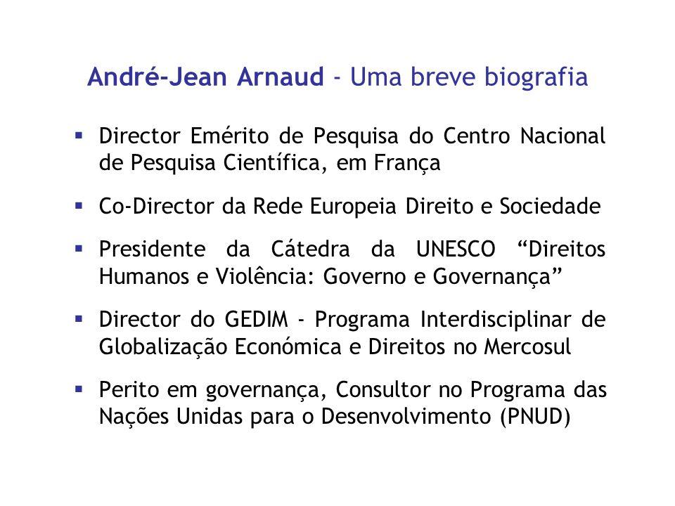 André-Jean Arnaud - Uma breve biografia Director Emérito de Pesquisa do Centro Nacional de Pesquisa Científica, em França Co-Director da Rede Europeia