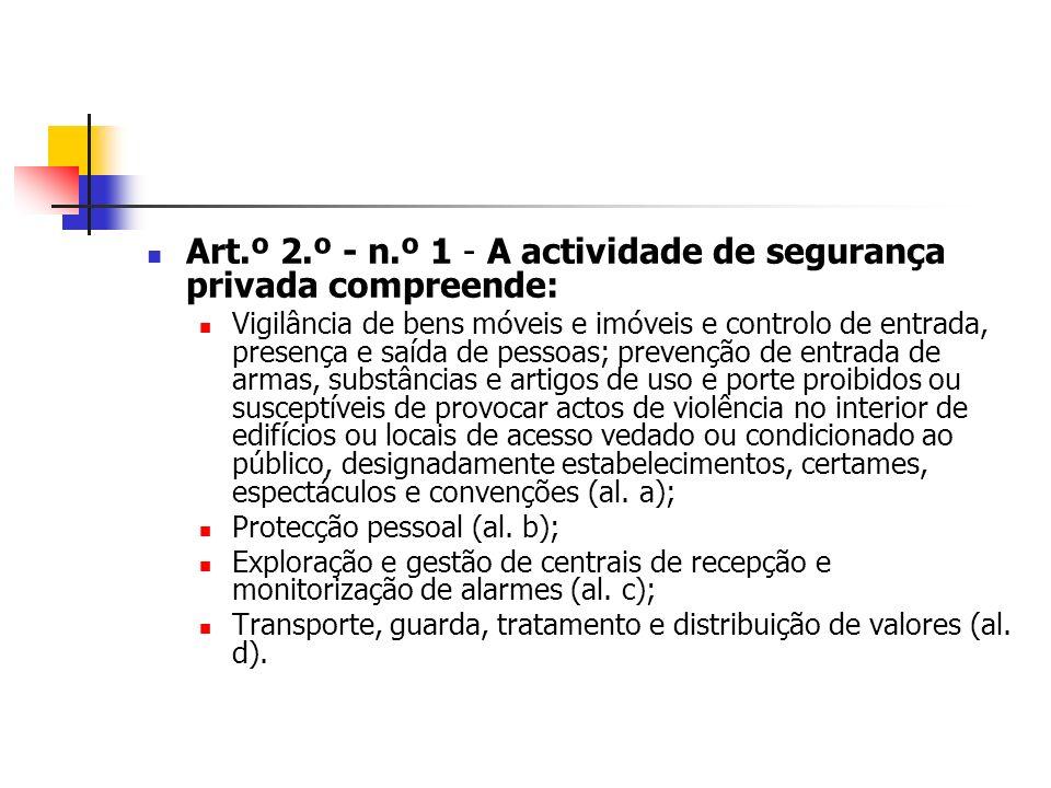 Art.º 2.º - n.º 1 - A actividade de segurança privada compreende: Vigilância de bens móveis e imóveis e controlo de entrada, presença e saída de pesso