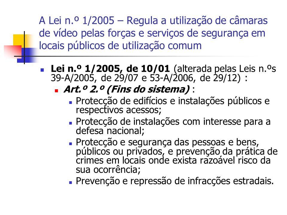 A Lei n.º 1/2005 – Regula a utilização de câmaras de vídeo pelas forças e serviços de segurança em locais públicos de utilização comum Lei n.º 1/2005,