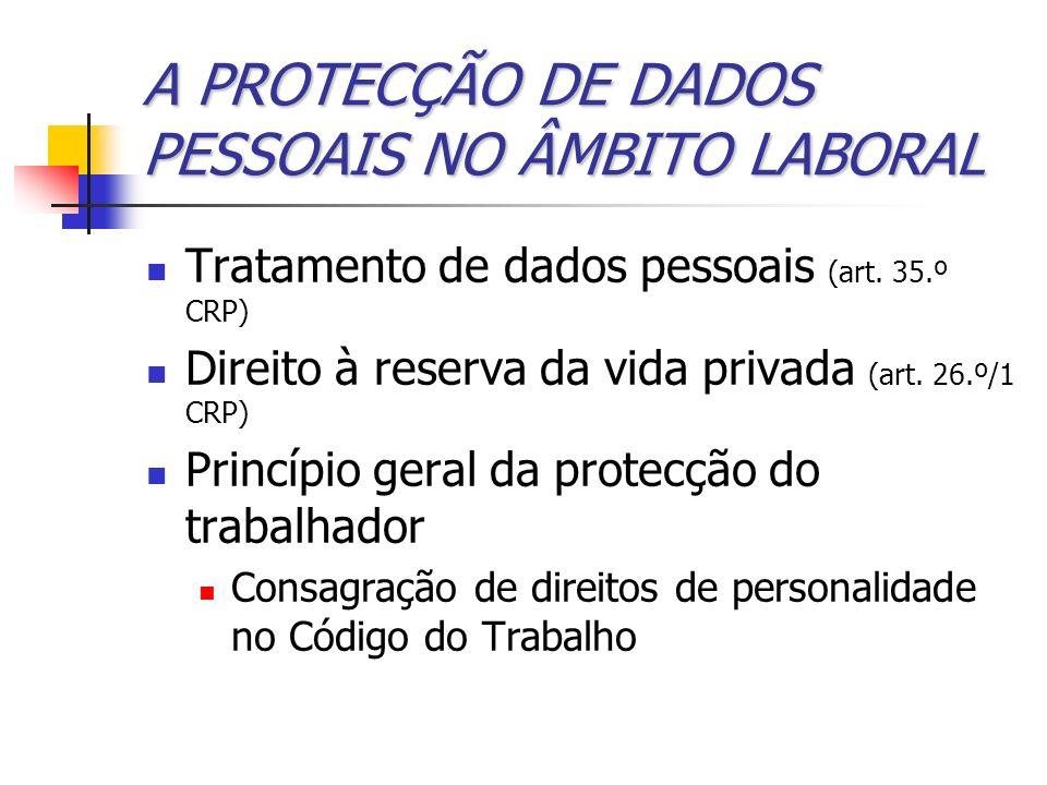 A PROTECÇÃO DE DADOS PESSOAIS NO ÂMBITO LABORAL Tratamento de dados pessoais (art. 35.º CRP) Direito à reserva da vida privada (art. 26.º/1 CRP) Princ