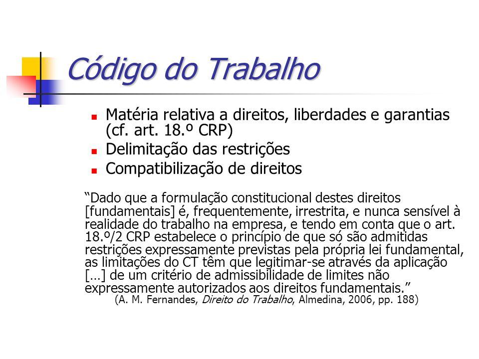 Código do Trabalho Matéria relativa a direitos, liberdades e garantias (cf. art. 18.º CRP) Delimitação das restrições Compatibilização de direitos Dad
