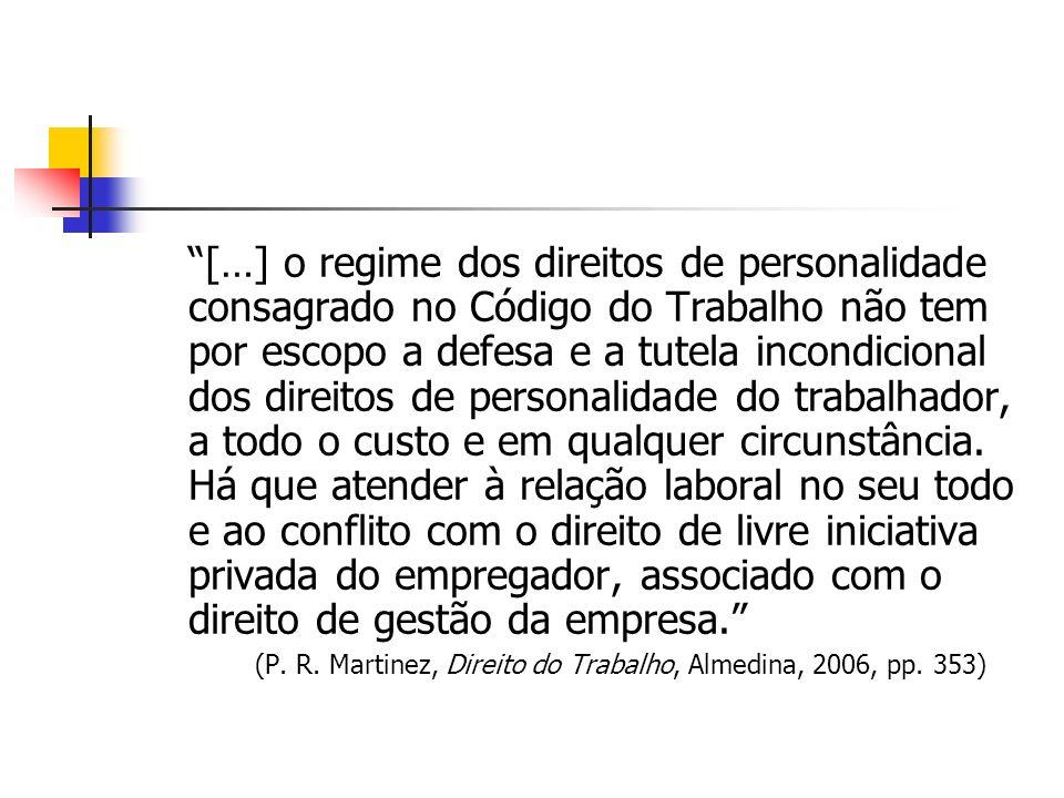 […] o regime dos direitos de personalidade consagrado no Código do Trabalho não tem por escopo a defesa e a tutela incondicional dos direitos de perso