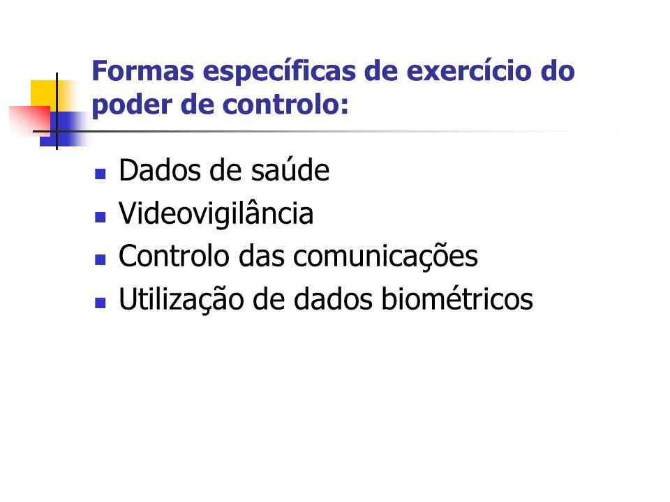 Formas específicas de exercício do poder de controlo: Dados de saúde Videovigilância Controlo das comunicações Utilização de dados biométricos