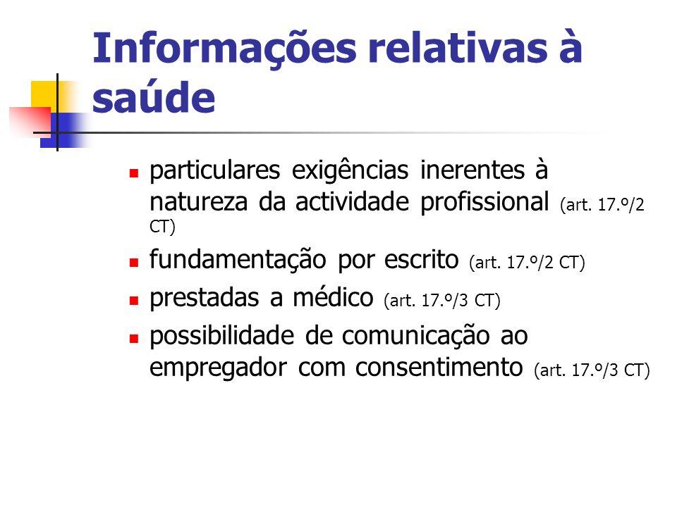 Informações relativas à saúde particulares exigências inerentes à natureza da actividade profissional (art. 17.º/2 CT) fundamentação por escrito (art.
