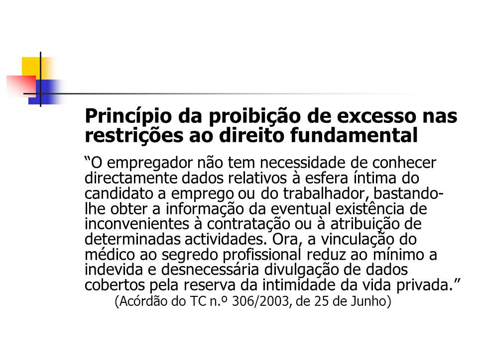 Princípio da proibição de excesso nas restrições ao direito fundamental O empregador não tem necessidade de conhecer directamente dados relativos à es
