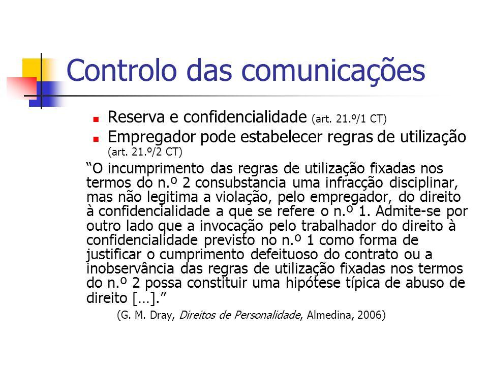 Controlo das comunicações Reserva e confidencialidade (art. 21.º/1 CT) Empregador pode estabelecer regras de utilização (art. 21.º/2 CT) O incumprimen