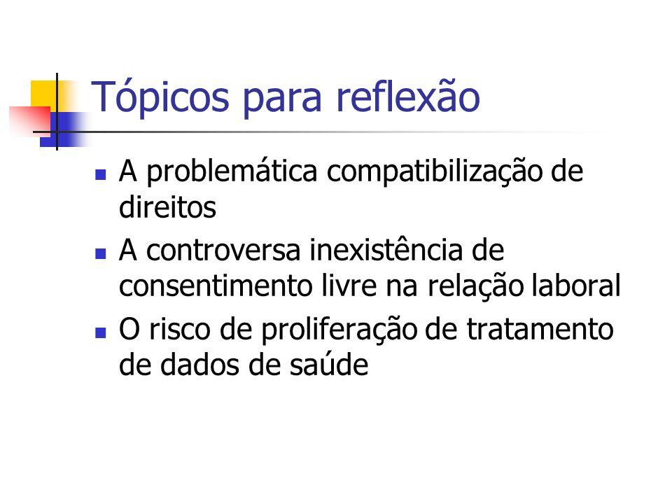 Tópicos para reflexão A problemática compatibilização de direitos A controversa inexistência de consentimento livre na relação laboral O risco de prol