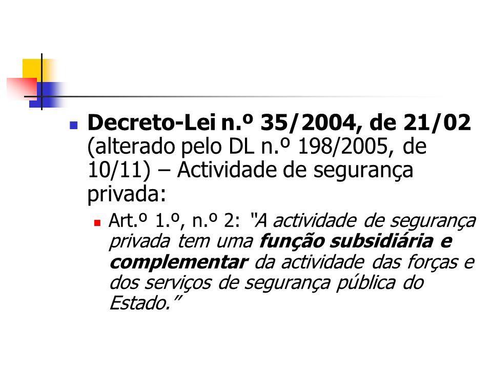 Decreto-Lei n.º 35/2004, de 21/02 (alterado pelo DL n.º 198/2005, de 10/11) – Actividade de segurança privada: Art.º 1.º, n.º 2: A actividade de segur