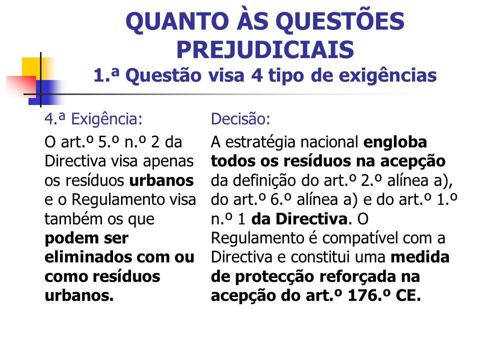 4.ª Exigência: O art.º 5.º n.º 2 da Directiva visa apenas os resíduos urbanos e o Regulamento visa também os que podem ser eliminados com ou como resíduos urbanos.