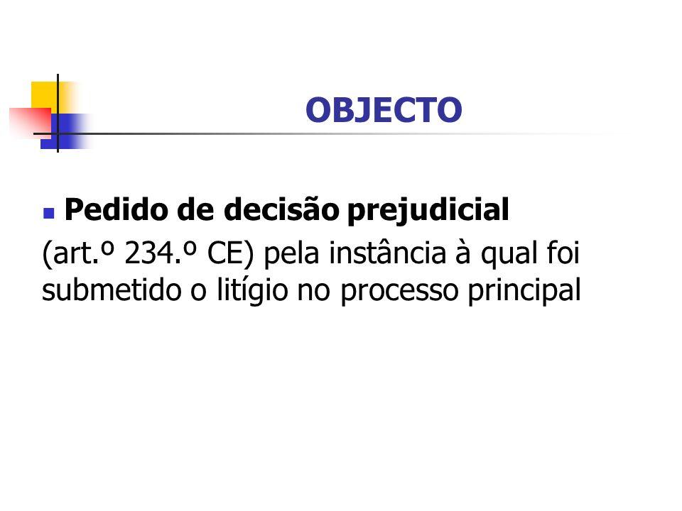 OBJECTO Pedido de decisão prejudicial (art.º 234.º CE) pela instância à qual foi submetido o litígio no processo principal