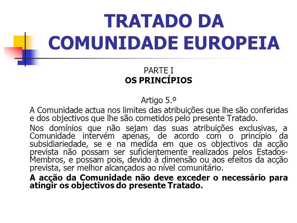 TRATADO DA COMUNIDADE EUROPEIA PARTE I OS PRINCÍPIOS Artigo 5.º A Comunidade actua nos limites das atribuições que lhe são conferidas e dos objectivos que lhe são cometidos pelo presente Tratado.