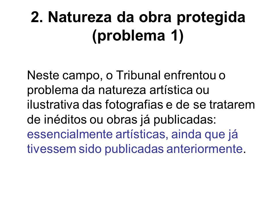 2. Natureza da obra protegida (problema 1) Neste campo, o Tribunal enfrentou o problema da natureza artística ou ilustrativa das fotografias e de se t