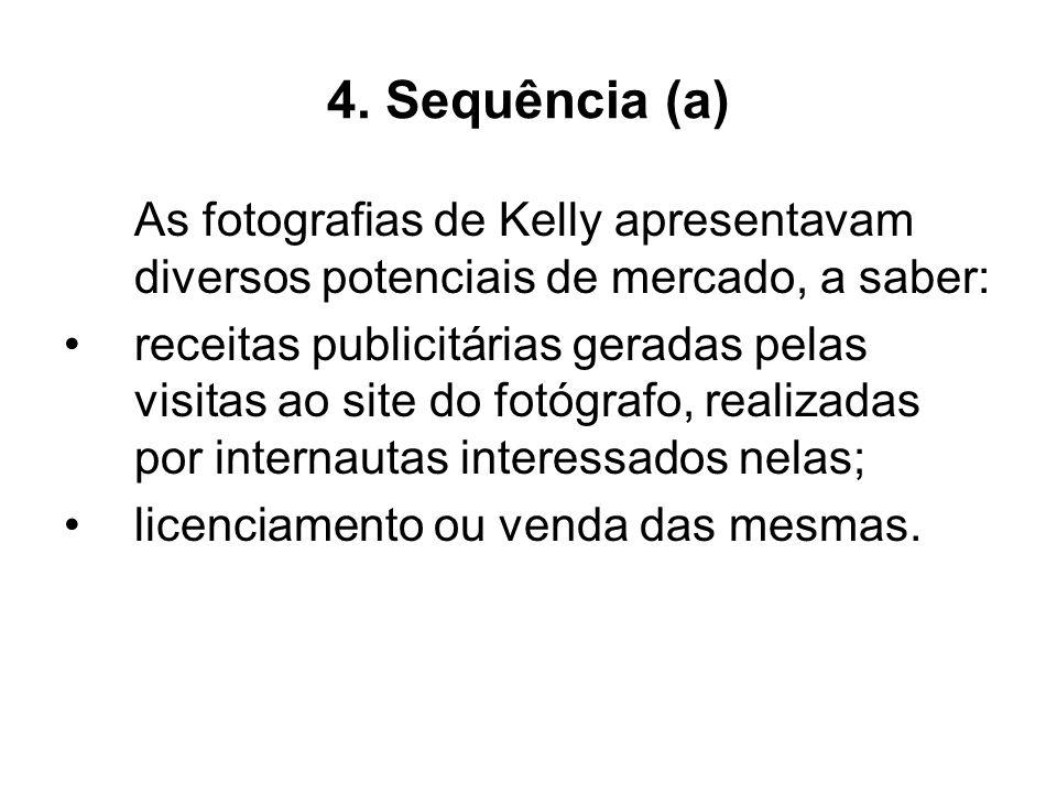 4. Sequência (a) As fotografias de Kelly apresentavam diversos potenciais de mercado, a saber: receitas publicitárias geradas pelas visitas ao site do
