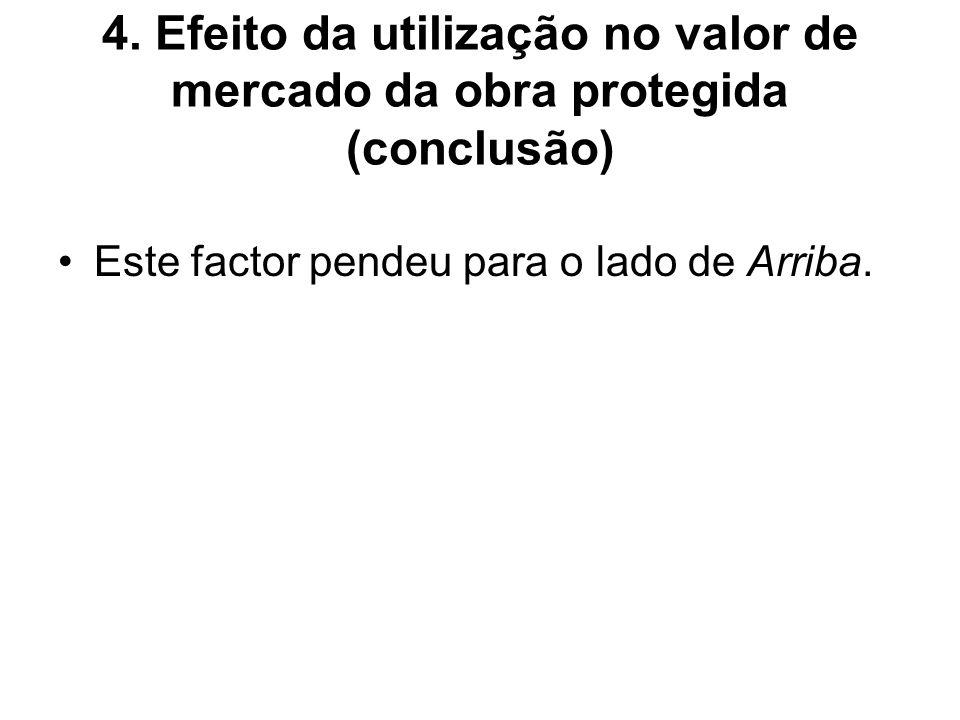 4. Efeito da utilização no valor de mercado da obra protegida (conclusão) Este factor pendeu para o lado de Arriba.