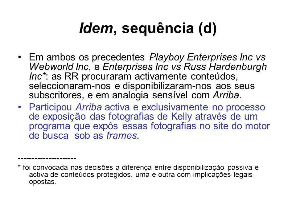 Idem, sequência (d) Em ambos os precedentes Playboy Enterprises Inc vs Webworld Inc, e Enterprises Inc vs Russ Hardenburgh Inc*: as RR procuraram acti