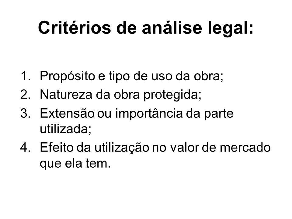 Critérios de análise legal: 1.Propósito e tipo de uso da obra; 2.Natureza da obra protegida; 3.Extensão ou importância da parte utilizada; 4.Efeito da