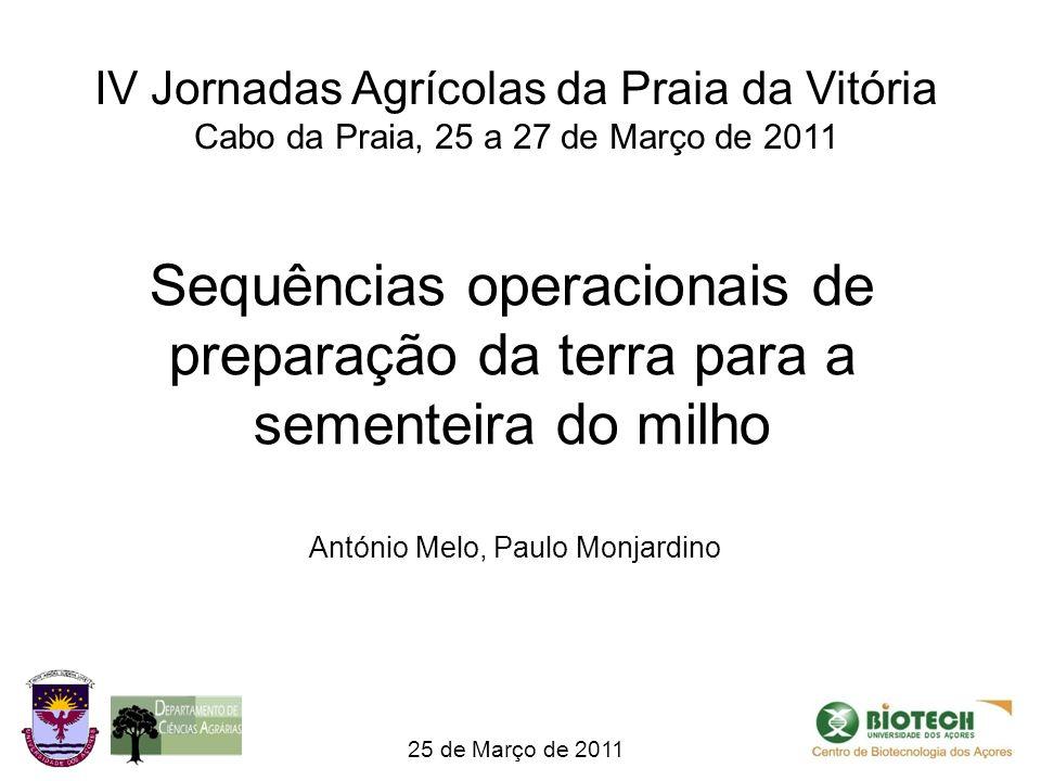 Sequências operacionais de preparação da terra para a sementeira do milho 25 de Março de 2011 António Melo, Paulo Monjardino IV Jornadas Agrícolas da Praia da Vitória Cabo da Praia, 25 a 27 de Março de 2011