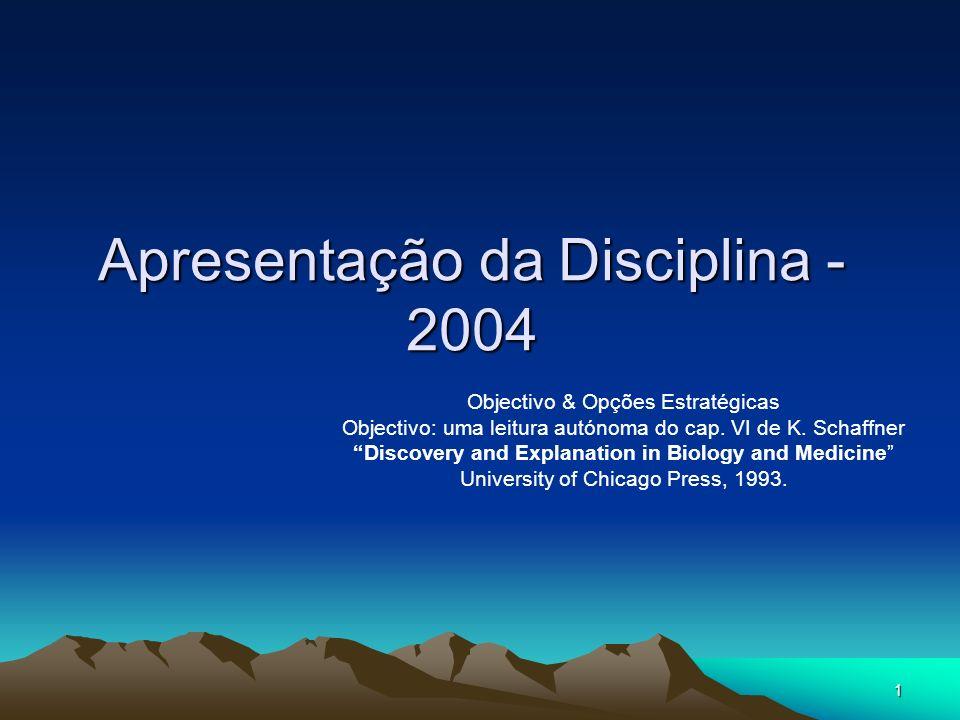 1 Apresentação da Disciplina - 2004 Objectivo & Opções Estratégicas Objectivo: uma leitura autónoma do cap.