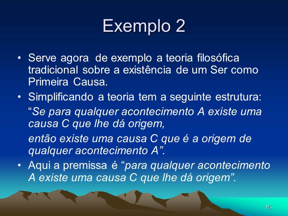 15 Exemplo 2 Serve agora de exemplo a teoria filosófica tradicional sobre a existência de um Ser como Primeira Causa.
