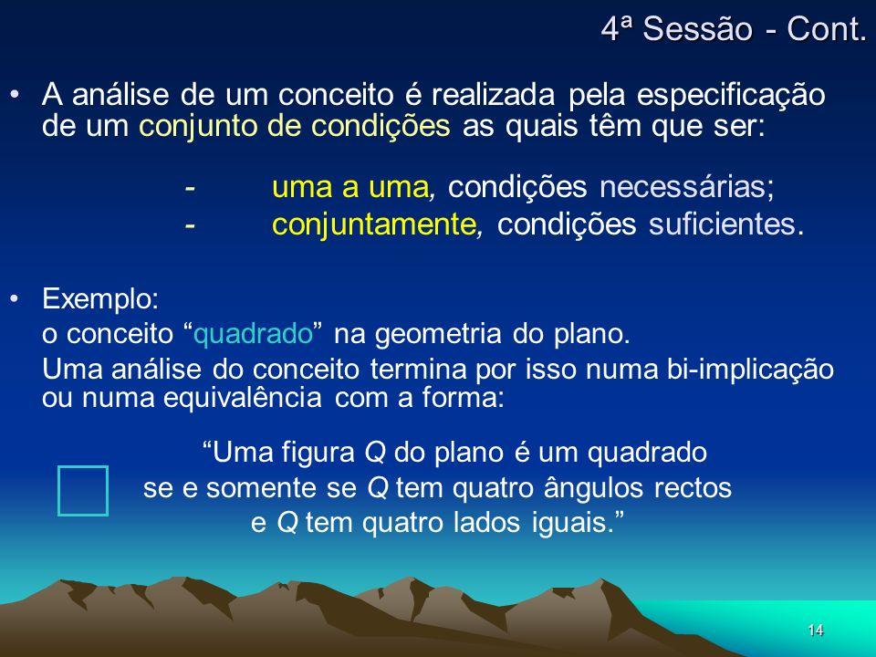 14 A análise de um conceito é realizada pela especificação de um conjunto de condições as quais têm que ser: -uma a uma, condições necessárias; -conju