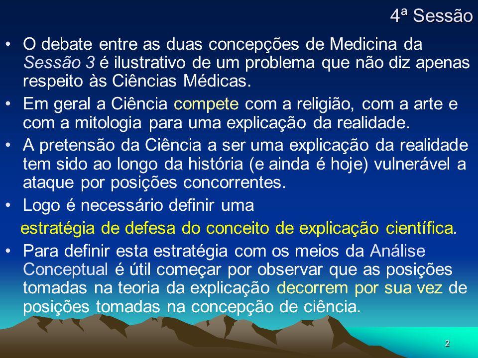 2 4ª Sessão O debate entre as duas concepções de Medicina da Sessão 3 é ilustrativo de um problema que não diz apenas respeito às Ciências Médicas. Em