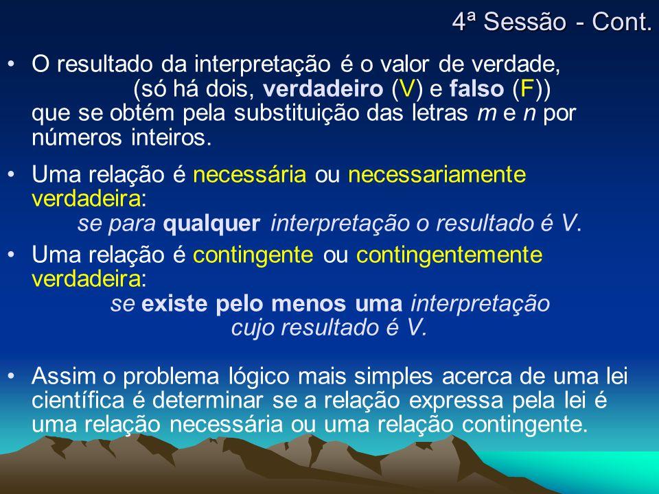 O resultado da interpretação é o valor de verdade, (só há dois, verdadeiro (V) e falso (F)) que se obtém pela substituição das letras m e n por número