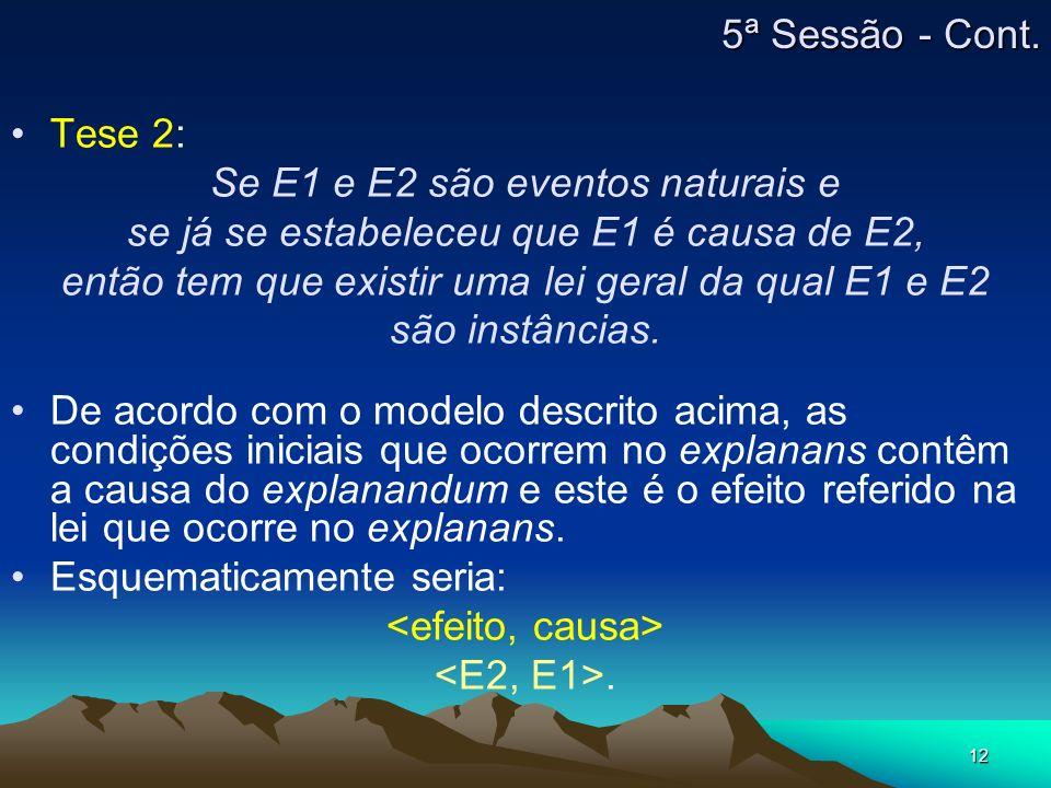 12 Tese 2: Se E1 e E2 são eventos naturais e se já se estabeleceu que E1 é causa de E2, então tem que existir uma lei geral da qual E1 e E2 são instân