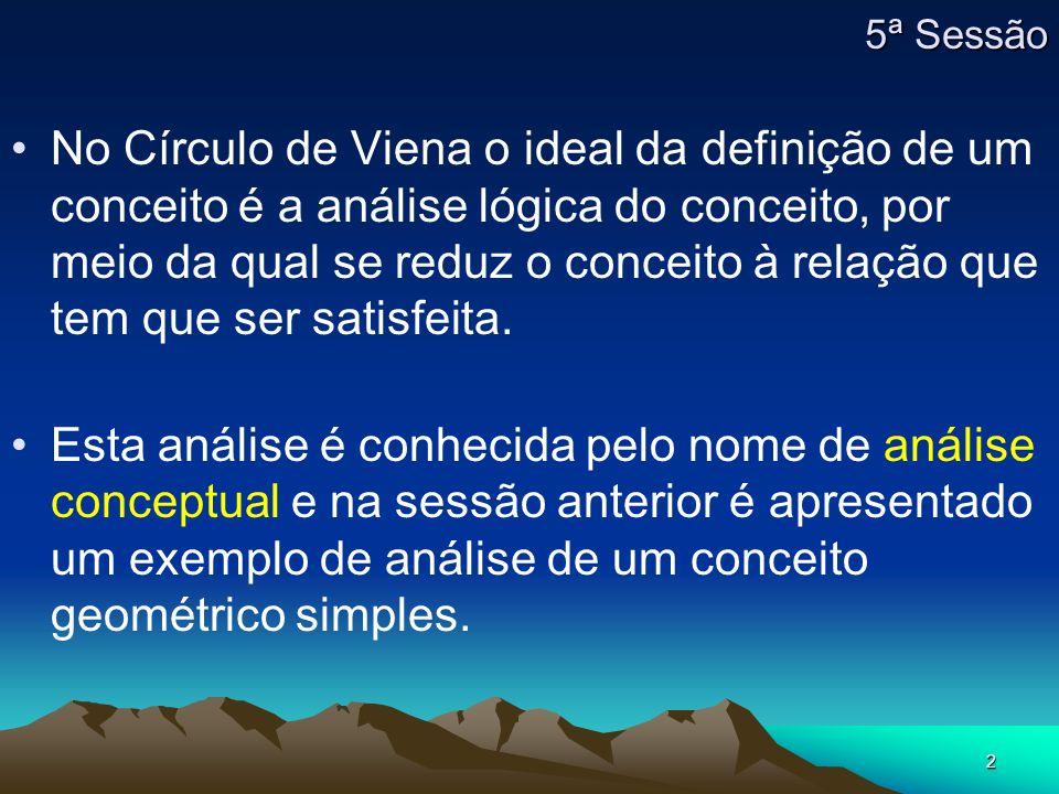 2 No Círculo de Viena o ideal da definição de um conceito é a análise lógica do conceito, por meio da qual se reduz o conceito à relação que tem que s