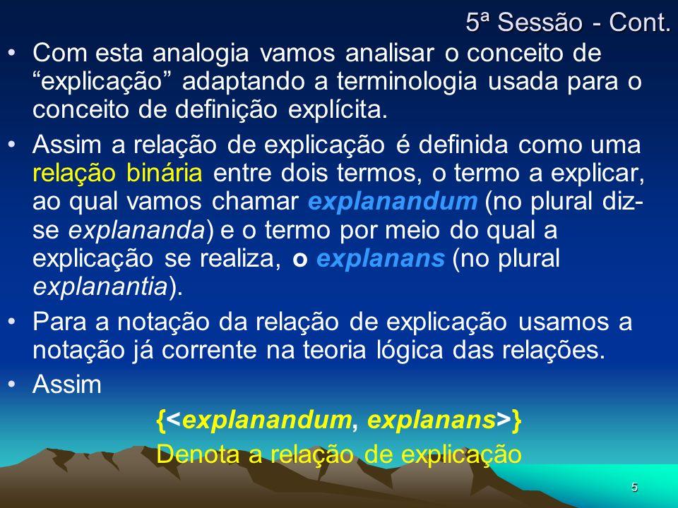 5 5ª Sessão - Cont. Com esta analogia vamos analisar o conceito de explicação adaptando a terminologia usada para o conceito de definição explícita. A