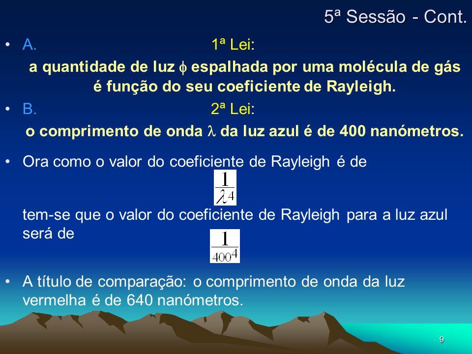 9 5ª Sessão - Cont. A. 1ª Lei: a quantidade de luz f espalhada por uma molécula de gás é função do seu coeficiente de Rayleigh. B. 2ª Lei: o comprimen