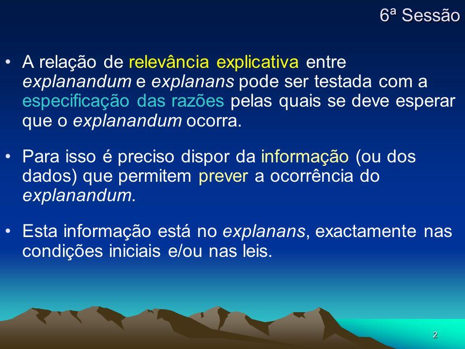 2 A relação de relevância explicativa entre explanandum e explanans pode ser testada com a especificação das razões pelas quais se deve esperar que o