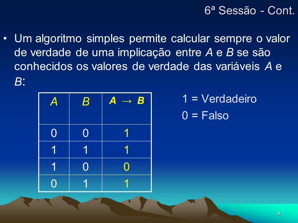 4 6ª Sessão - Cont. Um algoritmo simples permite calcular sempre o valor de verdade de uma implicação entre A e B se são conhecidos os valores de verd