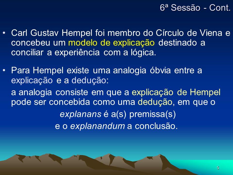 5 Carl Gustav Hempel foi membro do Círculo de Viena e concebeu um modelo de explicação destinado a conciliar a experiência com a lógica. Para Hempel e