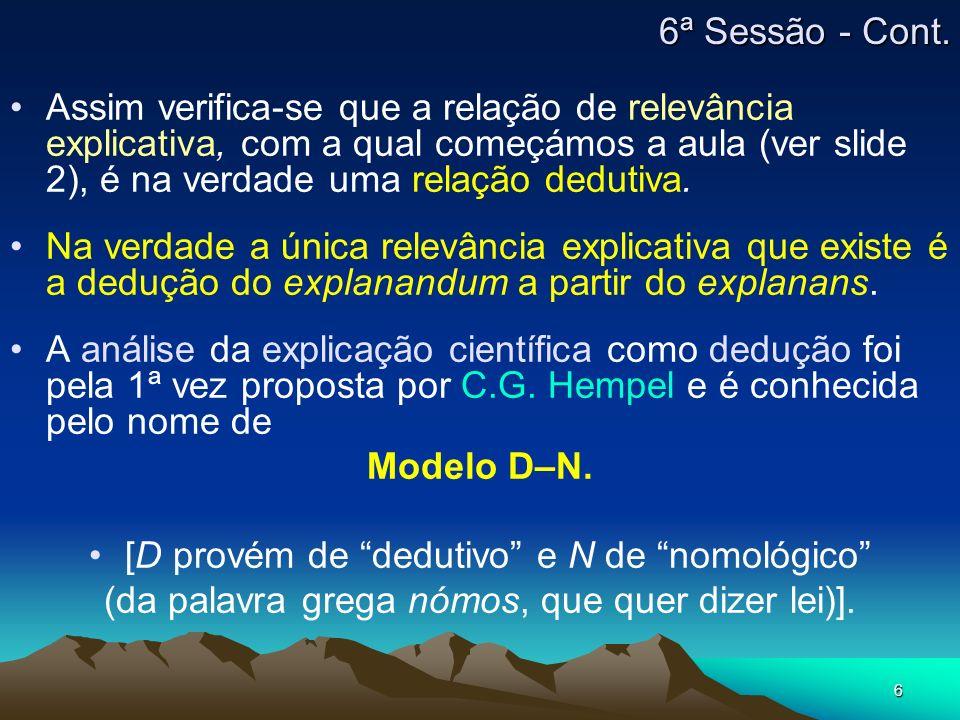 6 Assim verifica-se que a relação de relevância explicativa, com a qual começámos a aula (ver slide 2), é na verdade uma relação dedutiva. Na verdade