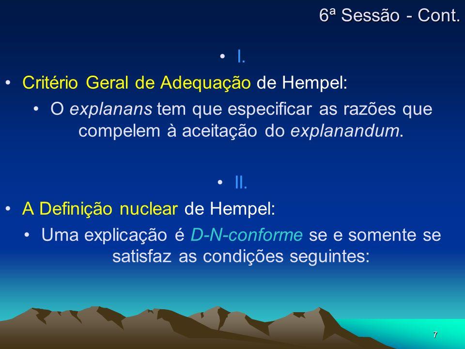 7 I. Critério Geral de Adequação de Hempel: O explanans tem que especificar as razões que compelem à aceitação do explanandum. II. A Definição nuclear