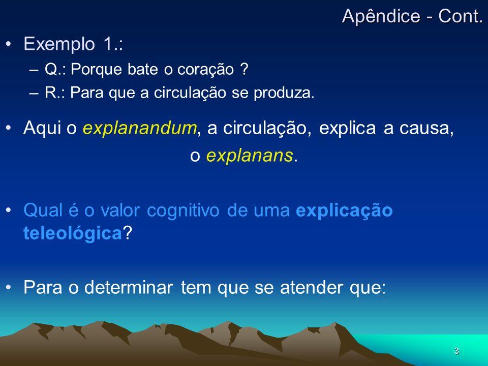 3 Exemplo 1.: –Q–Q.: Porque bate o coração ? –R–R.: Para que a circulação se produza. Aqui o explanandum, a circulação, explica a causa, o explanans.