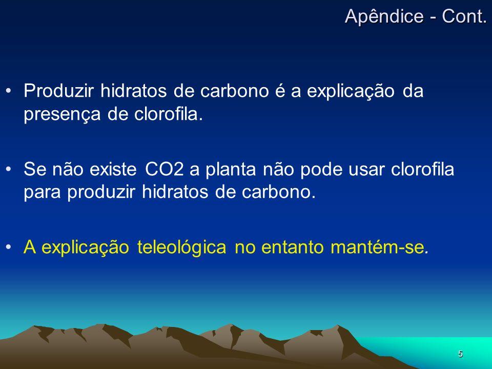 5 Produzir hidratos de carbono é a explicação da presença de clorofila. Se não existe CO2 a planta não pode usar clorofila para produzir hidratos de c