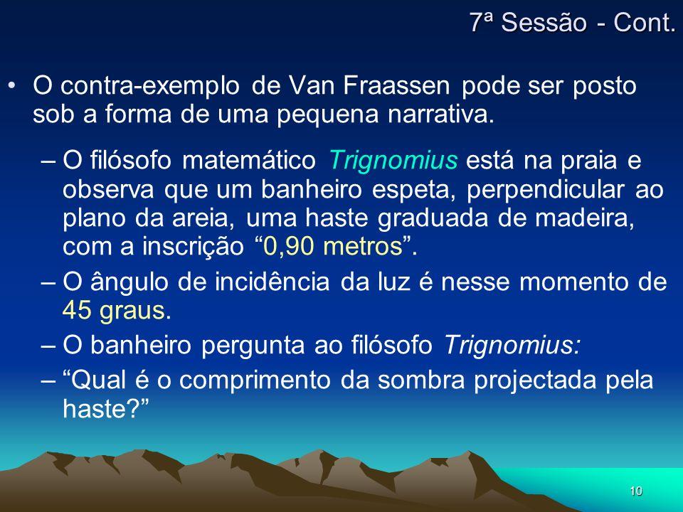 10 O contra-exemplo de Van Fraassen pode ser posto sob a forma de uma pequena narrativa. –O filósofo matemático Trignomius está na praia e observa que