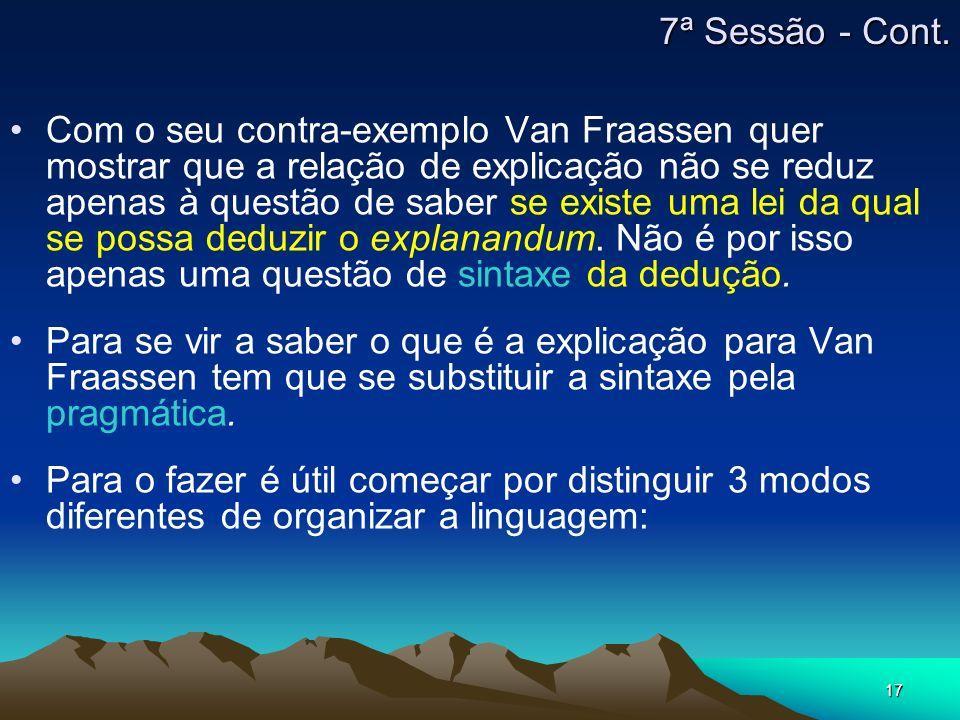 17 Com o seu contra-exemplo Van Fraassen quer mostrar que a relação de explicação não se reduz apenas à questão de saber se existe uma lei da qual se