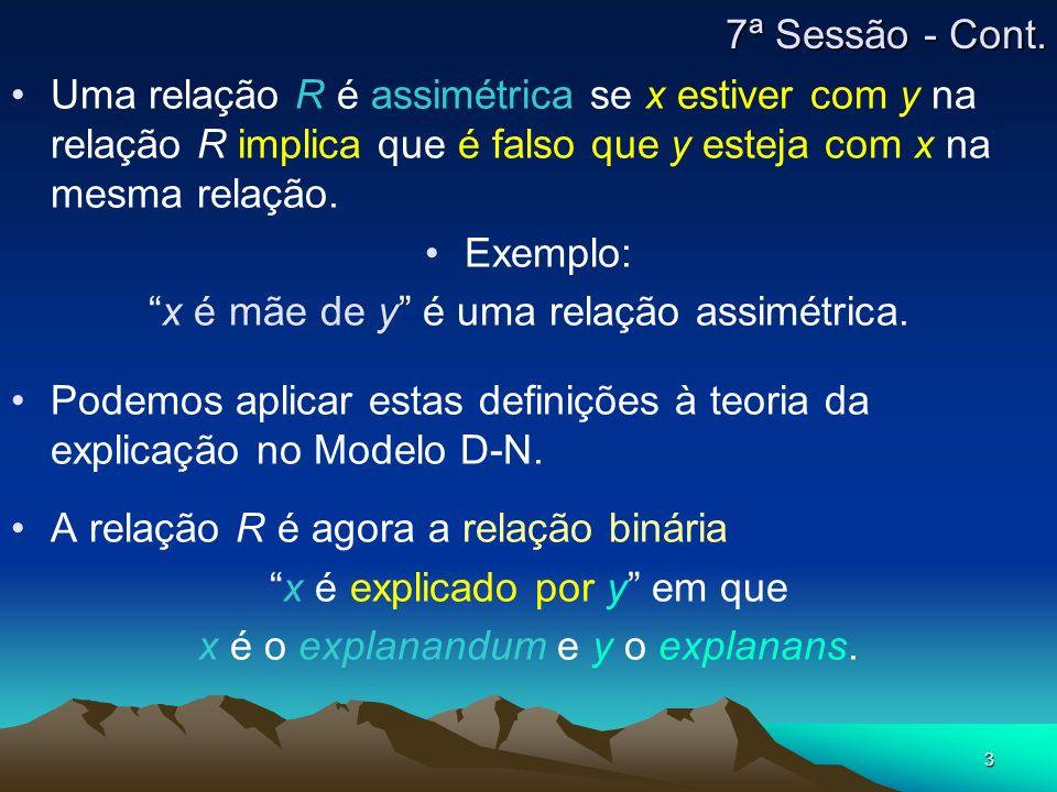 3 Uma relação R é assimétrica se x estiver com y na relação R implica que é falso que y esteja com x na mesma relação. Exemplo: x é mãe de y é uma rel