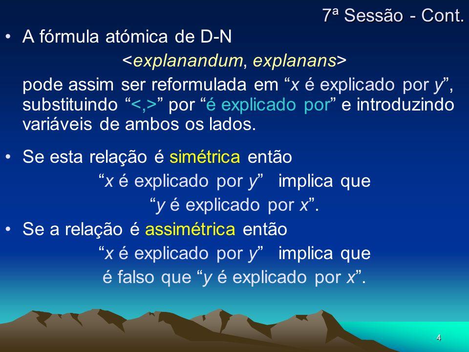 4 A fórmula atómica de D-N <explanandum, explanans> pode assim ser reformulada em x é explicado por y, substituindo <,> por é explicado por e introduz