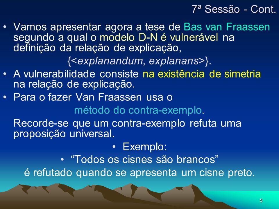 5 Vamos apresentar agora a tese de Bas van Fraassen segundo a qual o modelo D-N é vulnerável na definição da relação de explicação, { }. A vulnerabili
