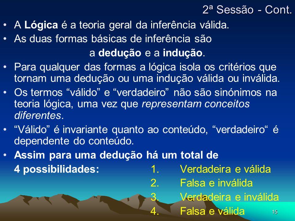 15 A Lógica é a teoria geral da inferência válida. As duas formas básicas de inferência são a dedução e a indução. Para qualquer das formas a lógica i