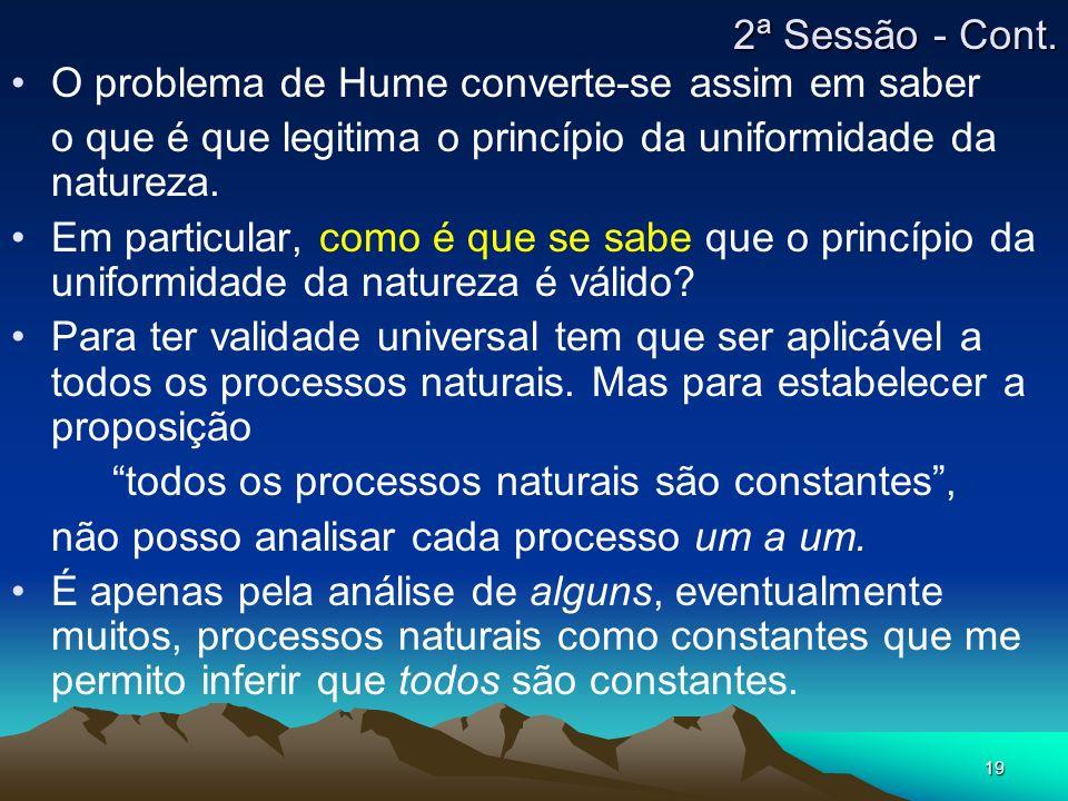 19 O problema de Hume converte-se assim em saber o que é que legitima o princípio da uniformidade da natureza. Em particular, como é que se sabe que o